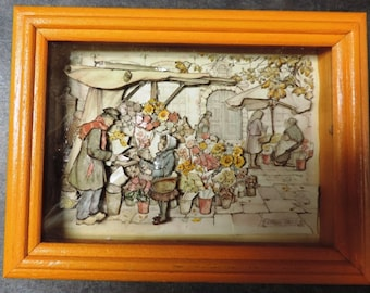 3-D Anton Pieck Painting in Shadowbox