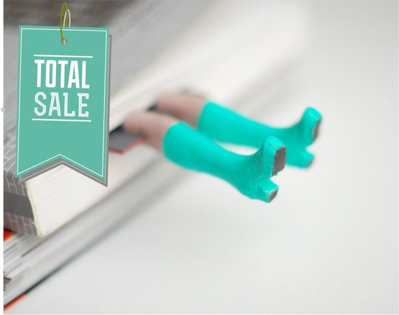 SALE! Rainboots bookmark. Turquoise boots.