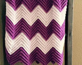 Chevron Baby Blanket in Iced Violet and Hot Orchid