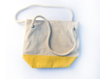 Canvas Tote Bag with Yellow Painted Bottom and Blue and White Striped Lining