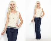 Vintage 60s BEADED Sequin Embroidered FRINGE Scallop Shirt Top //