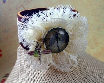 Leather and Lace Bohemian Cuff Bracelet  Leather Bracelet  Cuff Bracelet Shabby Chic Bracelet