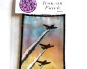 AirPlane Avation hand painted Iron on taking flight One of a Kind Patch Plane upcycled clothes clothing