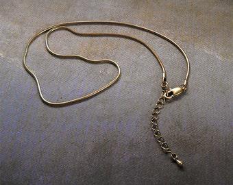 "Bronze snake chain, bronze necklace chain, adjustable snake chain, 16 inch bronze chain adjust to 18"" snake chain"