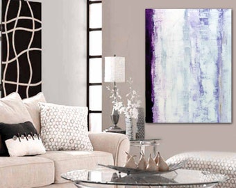 "Large abstract  painting, 'Mesmerized' 30"" x 40"" white, violet, lavender and gold"