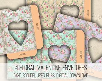 Digital Collage Sheet Download - Floral Valentine Heart Envelopes - 1169 - Instant Download - Instant Download Printables