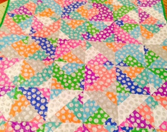 Sale Baby Crib Quilt  Bright colors and Dots Machine Quilted