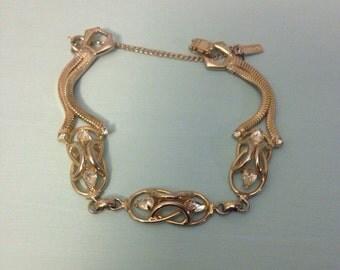 Vintage Volupte Gold Tone Rhinestone Bracelet Safety Chain