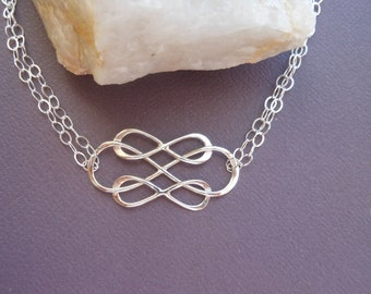 Silver Infinity Bracelet,  Friendship Bracelet, Sterling Silver Bracelet, Double Strand, Triple Infinity Bonded Together, Best Friend Gift