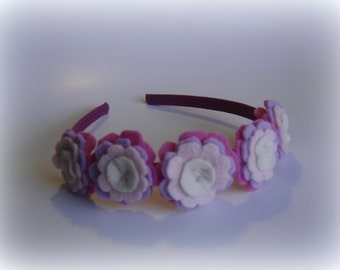 Girls headband light pink flower handmade baby blue girl hairband hair flowers accessory felted violet purple oatmeal felt accessories