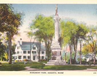 Vintage Postcard....Monument Park, Augusta, Maine....Unused...no. 2856