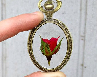 Genuine Miniature Red Rose Preserved in Clear Casting Resin, Enclosed in Oval Frame Pendant, Choice of necklace length.