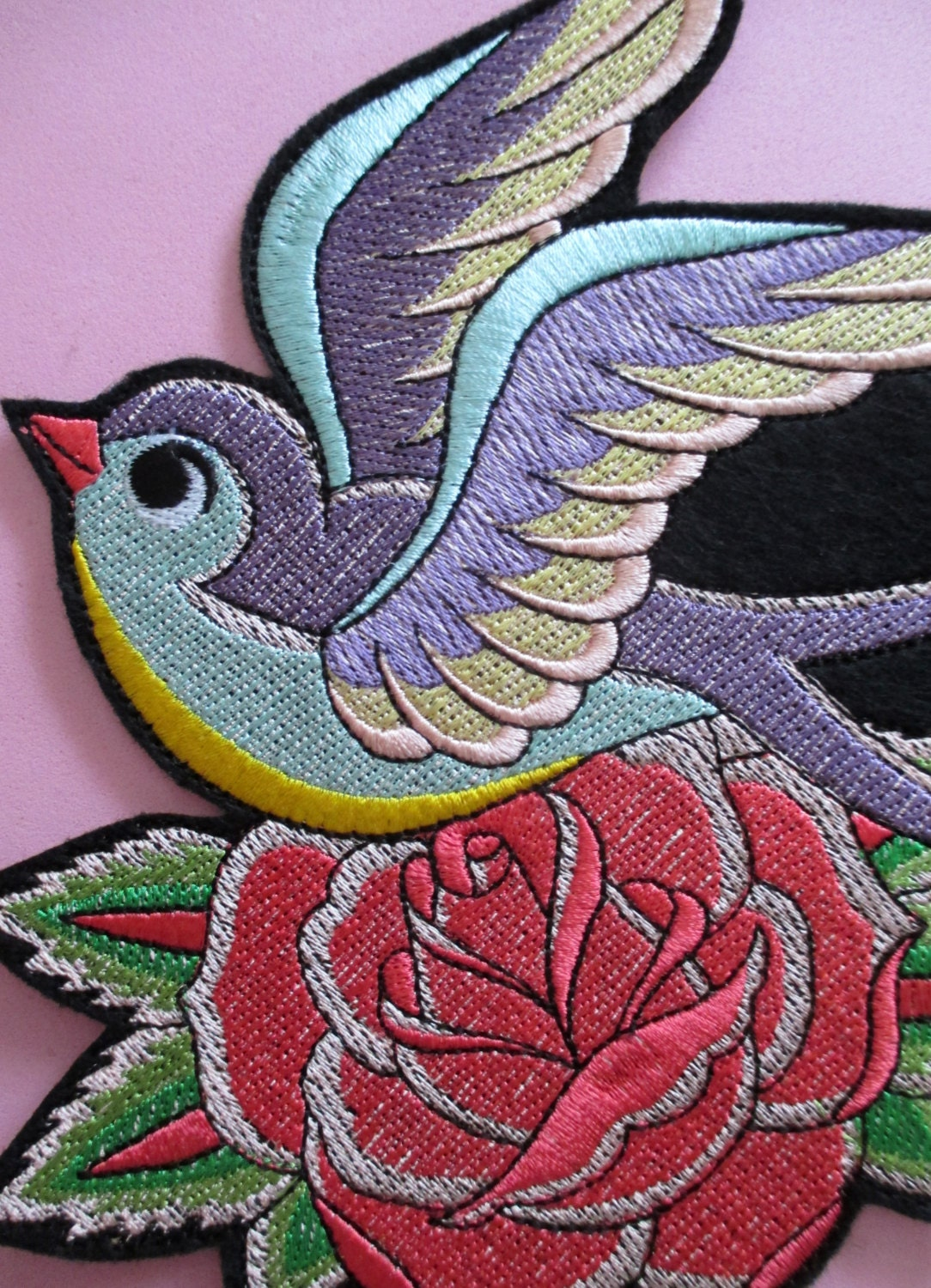 Large embroidered sparrow with rose applique patch iron