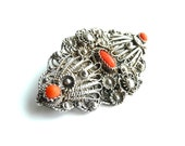 Sterling Silver Cannetille Coral Brooch Pin Vintage Art Nouveau Filigree Pin Early 1900s from TreasuresOfGrace