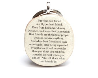 Best friend keychain best friend gift graduation gift going away gift bff key charm class of 2016 eco friendly