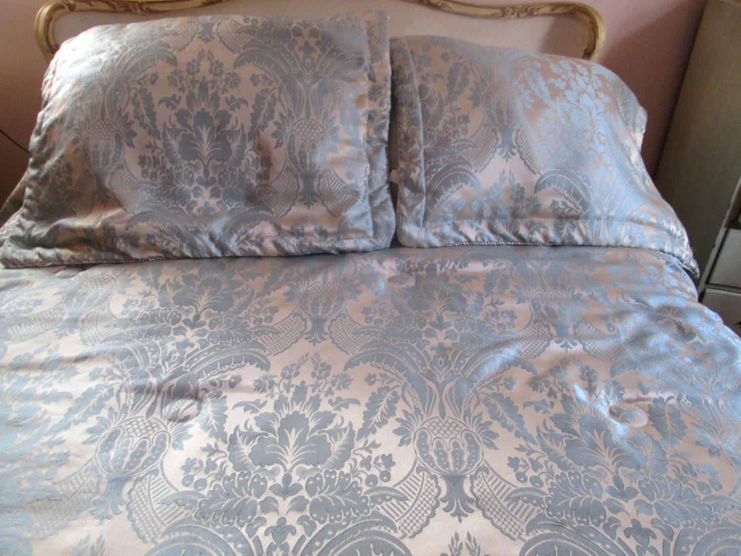 Bedspread French Toile Queen Bed Set 6 Pc Reversible By