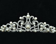 Austrian Crystals Faux Pearl Clear Flower Tiara Crown Wedding Bride SHA8617