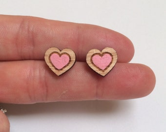 Wood laser cut earrings studs - large double heart handpainted candy pink