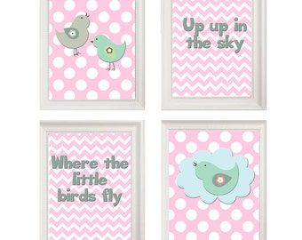 Art print, children's art, birds, pink and green, you print, 8 by 10