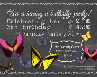Butterfly Garden Tea Party Invitations Printed with Envelopes