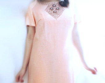 Silk 60s Dress - Tent Dress, Beaded / Silk Shantung / Vintage SM MED LG