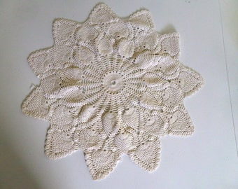 Vintage Cream Round Crocheted Doily