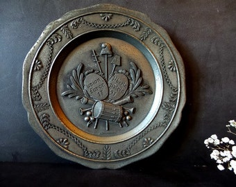 French Vintage Pewter Decorative Plate. Wall hanging. Pewter wall plate