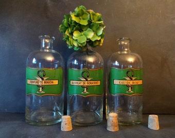 3 Vintage Large Apothecary Jars Bottles.Pharmacy old bottles .Antique Glass jars Bottles.