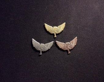 Tiny Hula Hooper Wings 3 Pin Set   Antique silver, gold, & copper Hoop Dance hoola hoop Hooper Girl