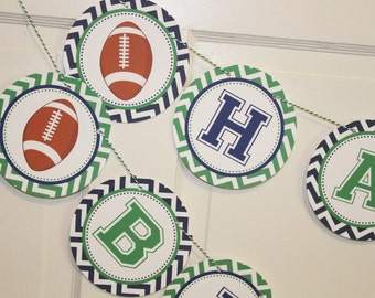 TOUCHDOWN Football Themed Happy Birthday or Baby Shower Party Banner Green Navy - Party Packs Available
