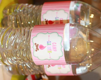 GLAMPING GLAM CAMPING Themed Water Bottle Labels Set of 12 {One Dozen} - Party Packs Available