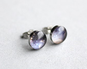Stardust earring studs, Surgical steel posts, Universe earring stud, Space earring post, Tiny earring studs, blue space earring