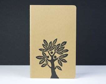 Ancient Tree journal. Primitive fruit tree cover design, medium size journal with inner pocket