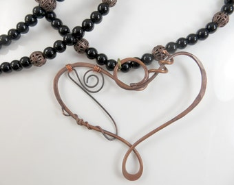 Large copper heart necklace