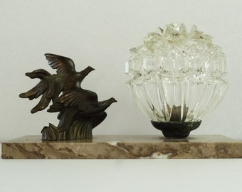 French Vintage Art Deco Lamp on Marble Base....Bronze Birds in Flight and Glass Globe....Paris Apartment.
