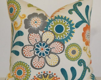 EURO SHAM - Square Cover - Decorative Pillow Cover - Floral in Teal Green Orange Grey Yellow - Accent Pillow - Throw Pillow
