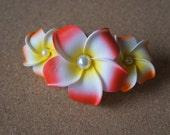 Orange Plumeria Comb Shape Hair Clip (With Pearls)