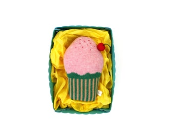 Baby Rattle in a gift box - Cupcake, soft knitted toy