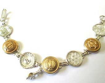 ARMY BAND antique button bracelet. U.S. Army Band uniform buttons, silver links
