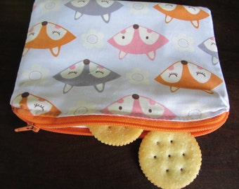 Reusable Snack Bag with Zipper- Foxes