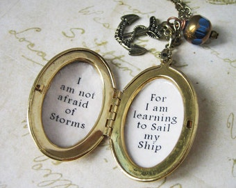 Inspirational Locket necklace with quote I am not afraid of storms for i am learning to sail my ship necklace for women quote pendant charm