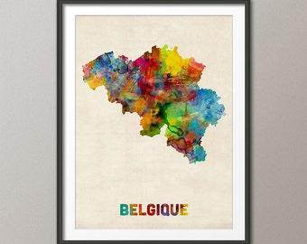 Belgium Watercolor Map (Belgique), Art Print (1323)