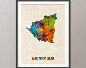 Nicaragua Watercolor Map, Art Print (1336)