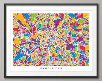 Manchester Map, Manchester England City Street Map, Art Print (1372)