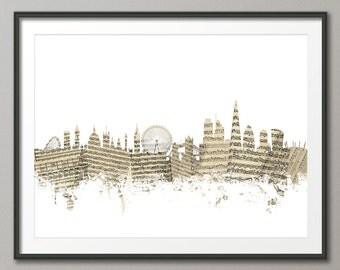 London Skyline, Sheet Music London Cityscape, Art Print (1374)