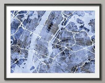 New York City Street Map USA, Art Print (1524)