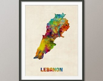 Lebanon Watercolor Map, Art Print (1662)