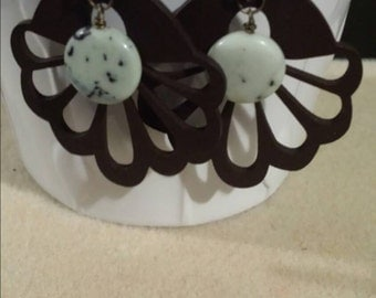 Snowflake turquoise and wooden earrings