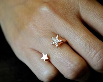 14K diamond star adjustable ring.Rose gold,white gold,yellow gold.
