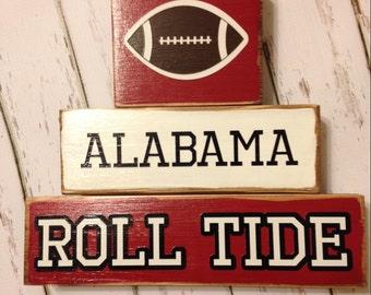 Alabama Football Wood Block Decor